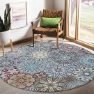 Round Wool Area Rug 4 ft Traditional Throw Runner Rug Non-Slip