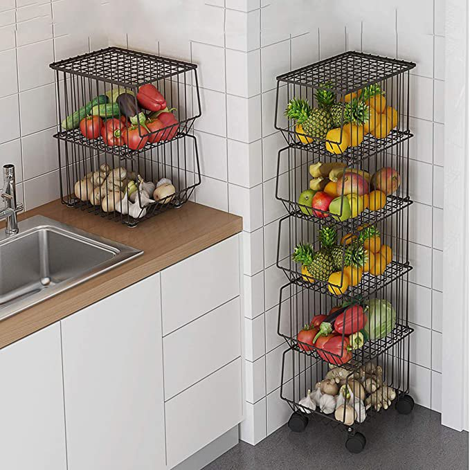 5-Tier Wire Basket Cart on Wheels for Kitchen, Stackable Wire Basket