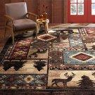 "Buffalo Bear Rustic Area Rug, Brown/Red, 5'2""x7'2"""