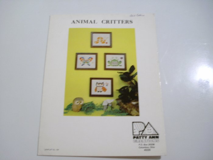 "Cross Stitch Leaflet - ""Animal Critters"" - by Patty Ann Creations"