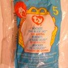 """McDonald's TY Beanie #5 """"Rocket The Blue Jay"""" 1999"""