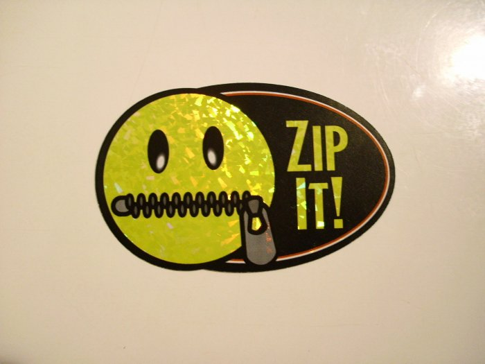 Zip It! Sticker