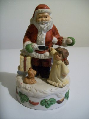 Christmas Decor - Ceramic Santa With Little Girl and Her Dog