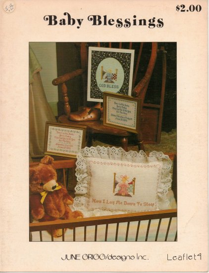 """VTG """"Baby Blessings"""" By June Grigg Counted Cross Stitch Leaflet"""