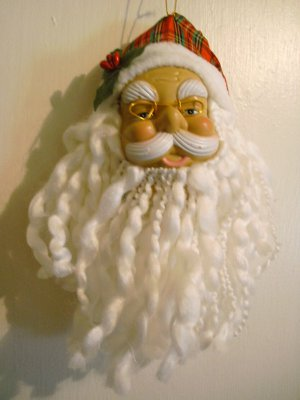 """Realistic Santa Clause with Plaid Hat Ornament - 10 3/4"""" x 4""""- NEW"""