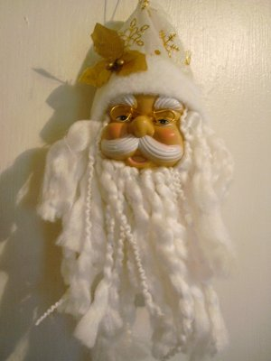 "Realistic Santa Clause With White Hat/Gold Snowflakes Ornament - 10 3/4"" x 4"" - NEW"