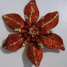 "Glitter Accented Red/Gold Poinsettia 6"" - Christmas Ornament - NEW"