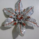 """Glitter Accented Silver/Red Poinsettia 6"""" - Christmas Ornament - NEW"""