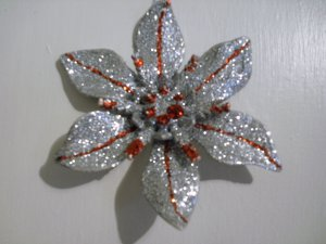 "Glitter Accented Silver/Red Poinsettia 6"" - Christmas Ornament - NEW"