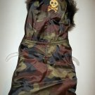 Simply Dog Camo With Gold Skull Fur Hood Puffer Coat For Dog - Size XXS