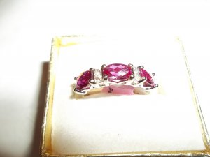 3 Stone Red Ruby & 2 Stone White Sapphire Band Ring - *NWT* - Size 7