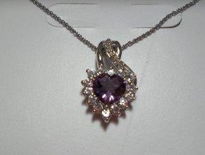 "Purple Amethyst/ White Sapphire/Diamond SS Heart Pendant With 18"" Chain - *NWT*"