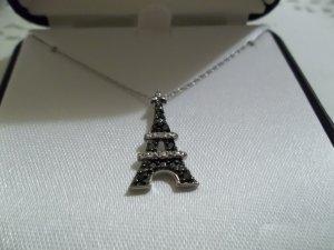 "10K White Gold 1/10 ct B&W Diamond Eiffel Tower Pendant 18"" Chain"