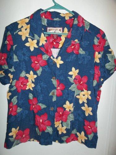 Ladies Blue Blouse With Flowers - Size L - (Caribbean Joe)
