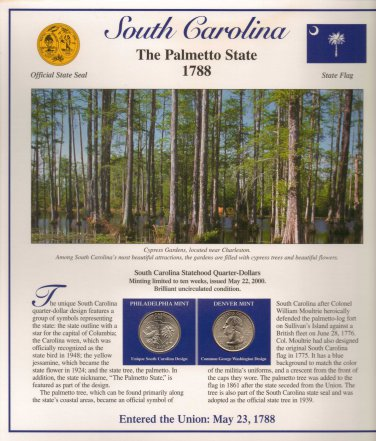 South Carolina State Quarters (P&D) and Stamps - Mint Condition