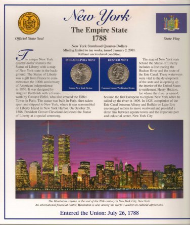 New York State Quarters (P&D) and Stamps - Mint Condition