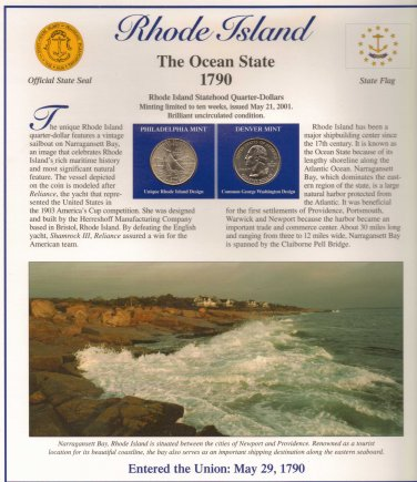 Rhode Island State Quarters (P&D) and Stamps - Mint Condition