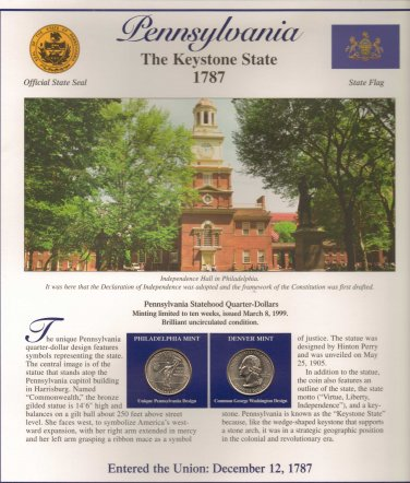 Pennsylvania State Quarters (P&D) and Stamps - Mint Condition