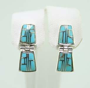 Sterling Silver Turquoise &Lab Opal Earrings