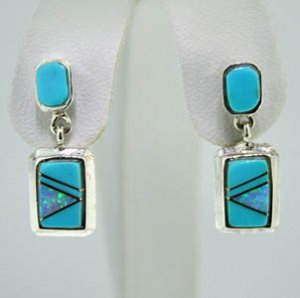 Sterling Silver Turquoise and Lab Opal Earrings