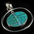 Sterling Silver Turquoise and Lab Created Opal Pendant