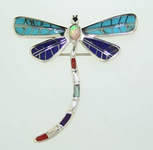 Sterling Silver Turquoise Lapis Coral Dragon Fly Pin or Pendant