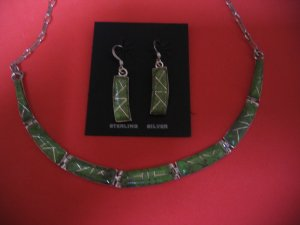 Sterling Silver Gaspeite Necklace and Earrings