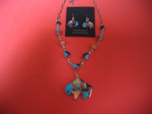 Sterling Silver Multi Stone Necklace and Earring Set