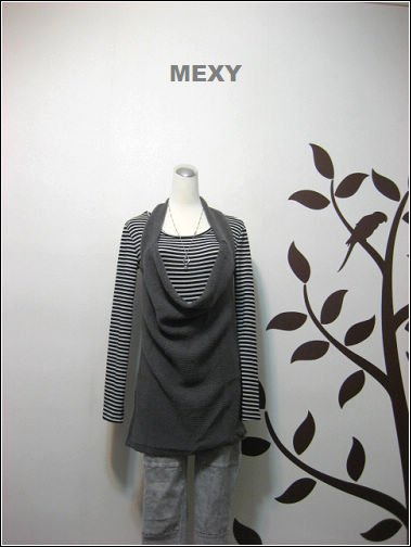 Two piece knitted grey top with Strip shirt