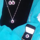 Amethyst stamped sterling silver 925 jewelry set