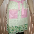 Green Dot & Pink Half Apron