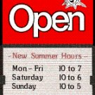 Open Closed Sign with Sliding Message Board RED SUN