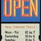 Open Sign with Sliding Message Board (20x14) OR/BLU BOLD