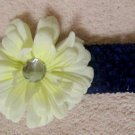 Navy headband w/ white flower