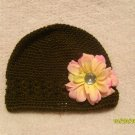 Brown kufi hat w/ flower