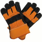 Pair Split Leather Orange Safety Work Gloves