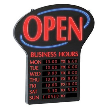 LED Lighted Open Sign w/ Business Hours