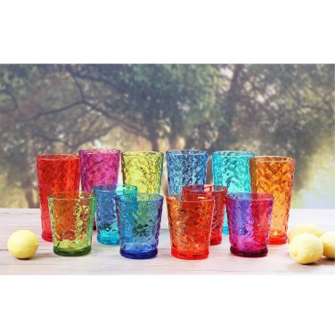 Unbreakable Hammered Tumbler, 12 pack (Assorted Colors)