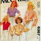 Mccalls 6367 - Blouse Shirt Top - Vintage 1970's
