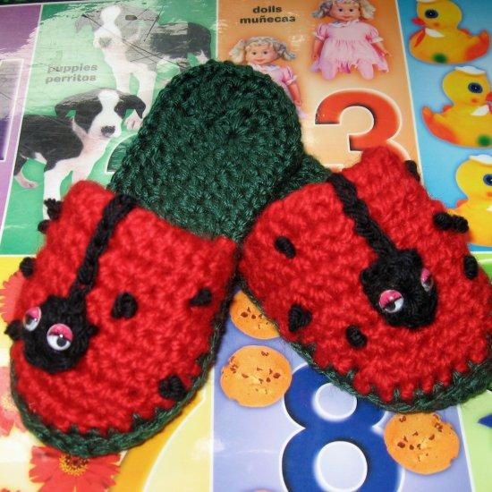 CROCHET PATTERN Lady Bug Toddlers Crochet Slipper ePattern