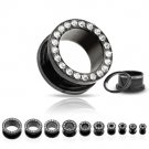 8g Black Titanium Plated Over 316L  Steel Screw Fit Tunnel with Gems