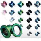 6g Blue Titanium Plated Over 316L Steel Screw Fit Flesh Tunnels