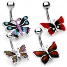 14g Red, Black and Yellow Hand Painted Butterfly Navel Ring