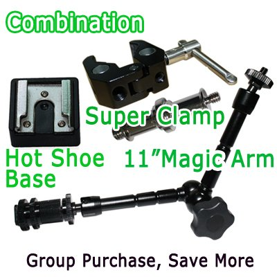 """free shipping+11""""Articulating Magic Arm + Super Clamp + Hot Shoe Base for  camera 5D&7D"""