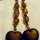 Cream and Brown Dangle Heart