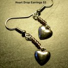 Silver Heart Dangle Earrings