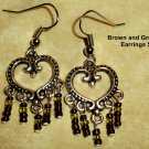 Pewter Heart with dangle brown and green