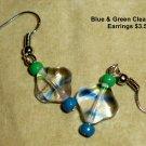 Blue & Green Clear Glass Earrings