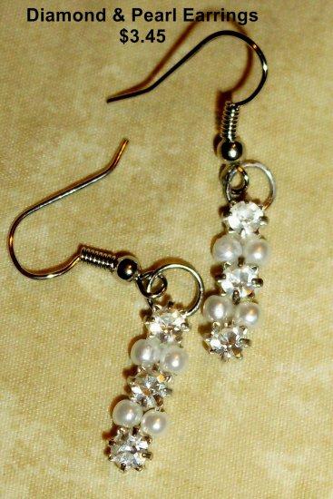 Diamond & Pearl Dangle Earrings