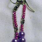 Dangle Pink & Purple Earrings